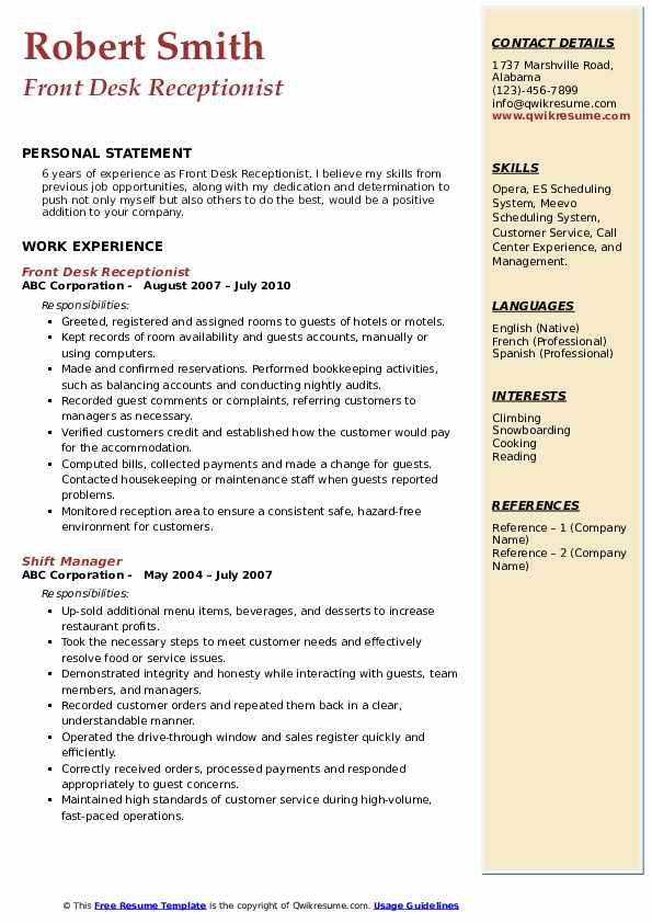 Front Desk Receptionist Resume Model