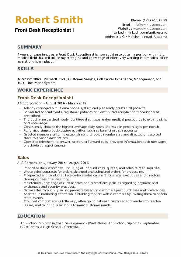 Front Desk Receptionist Resume example