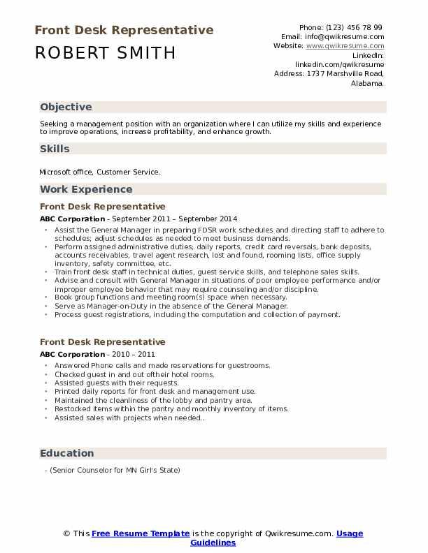Front Desk Representative Resume Model