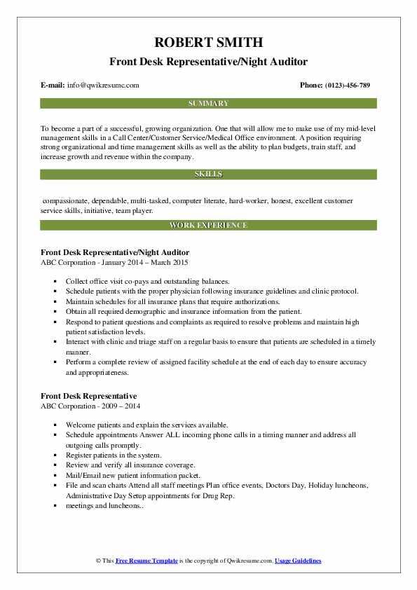 Front Desk Representative/Night Auditor Resume Sample