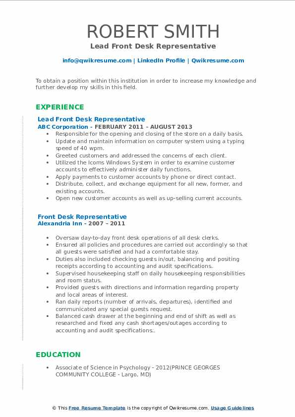 Lead Front Desk Representative Resume Example