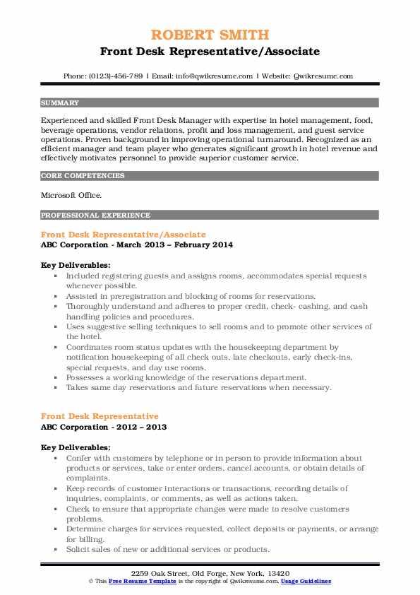 Front Desk Representative/Associate Resume Template