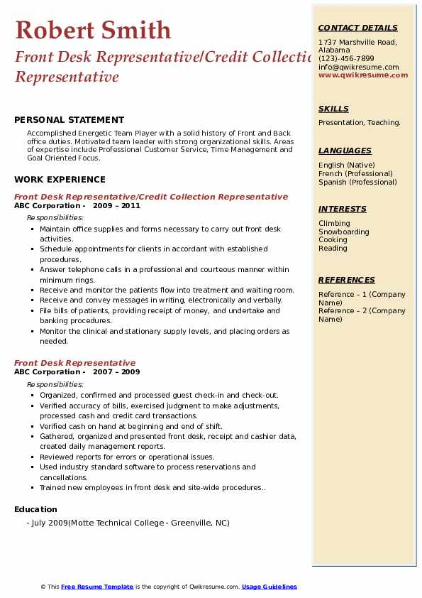 Front Desk Representative/Credit Collection Representative Resume Example
