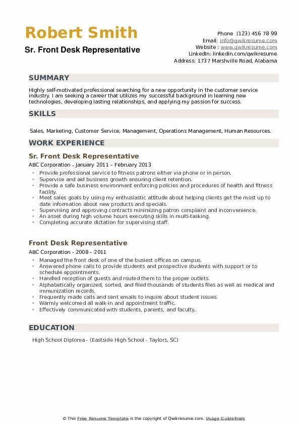 Sr. Front Desk Representative Resume Model