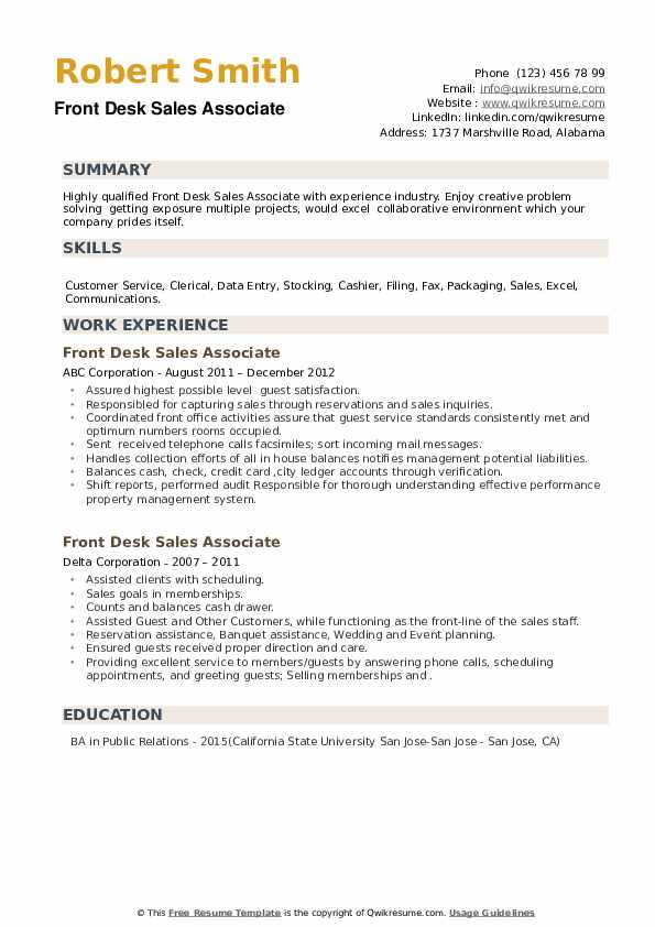 Front Desk Sales Associate Resume example