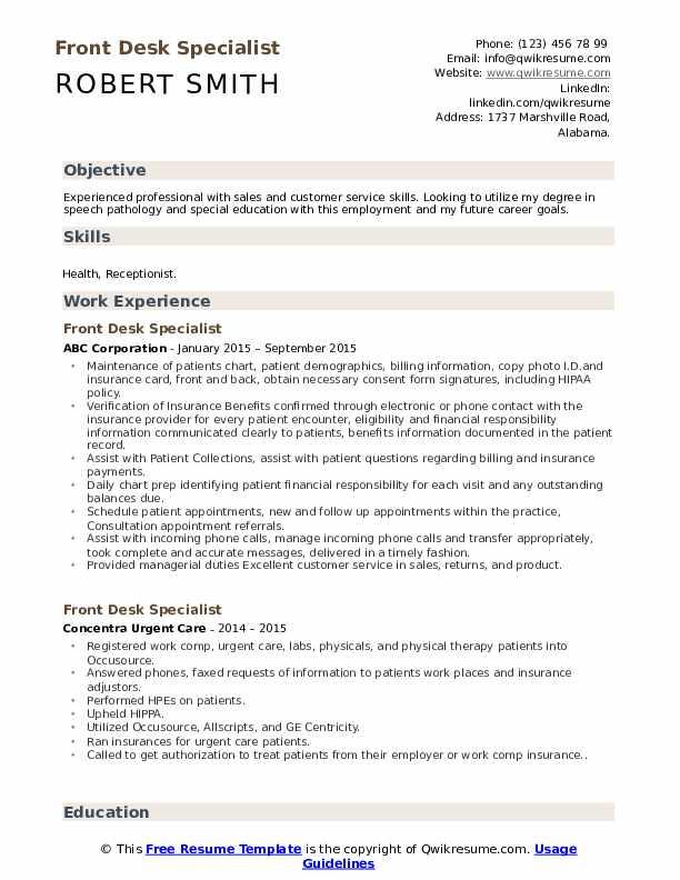 Front Desk Specialist Resume Model