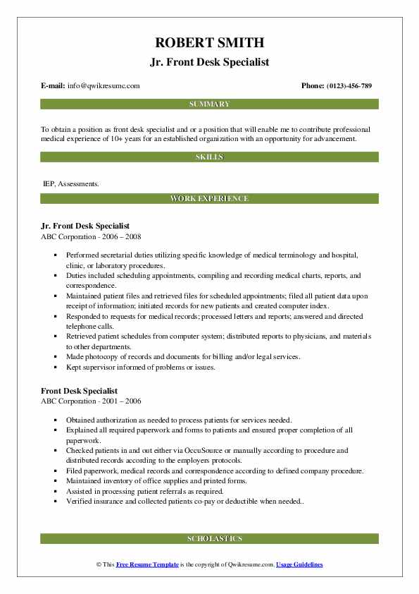 Jr. Front Desk Specialist Resume Template