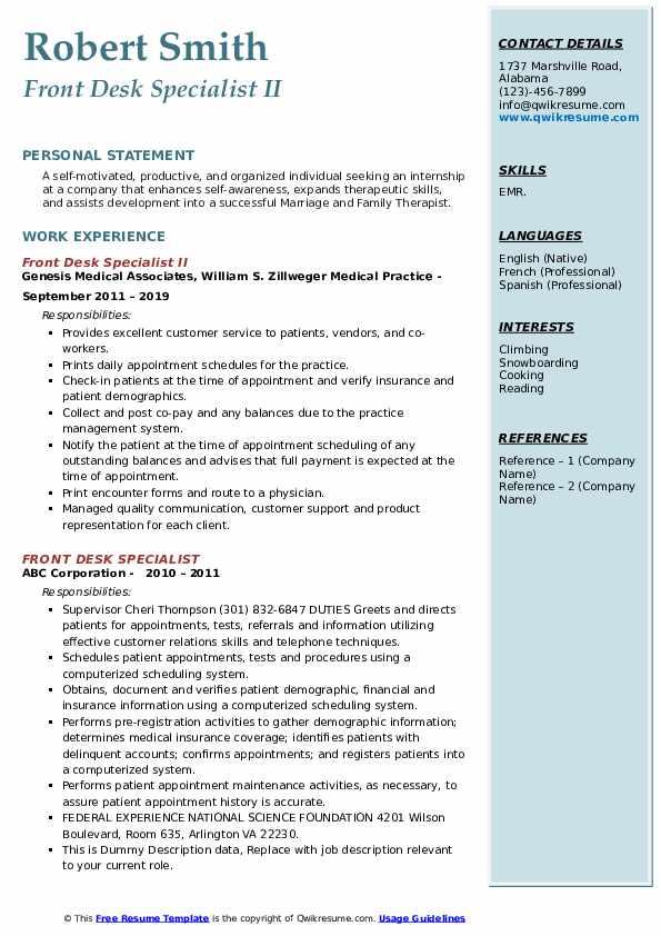 Front Desk Specialist II Resume Format