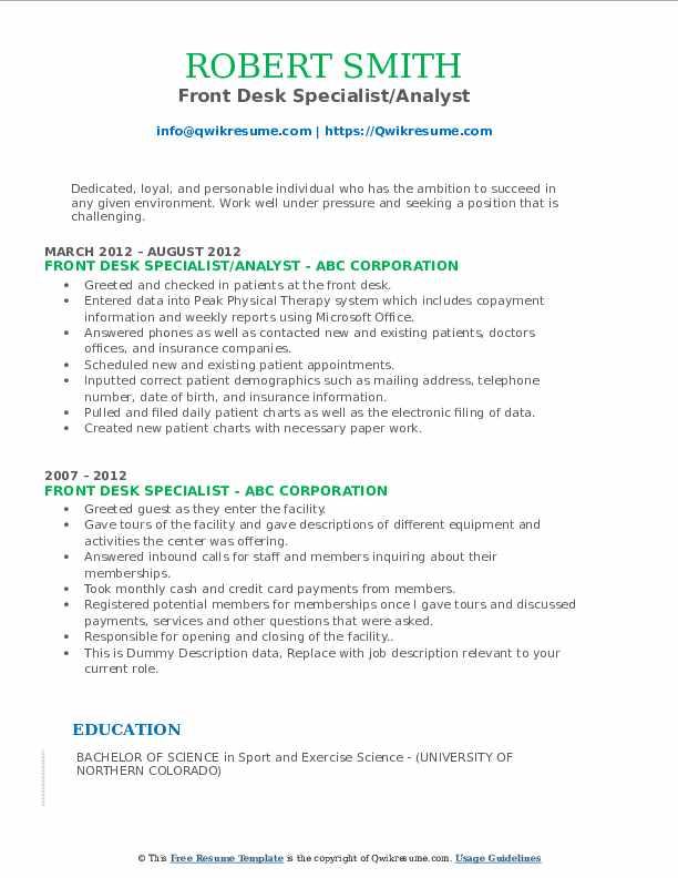 Front Desk Specialist/Analyst Resume Sample