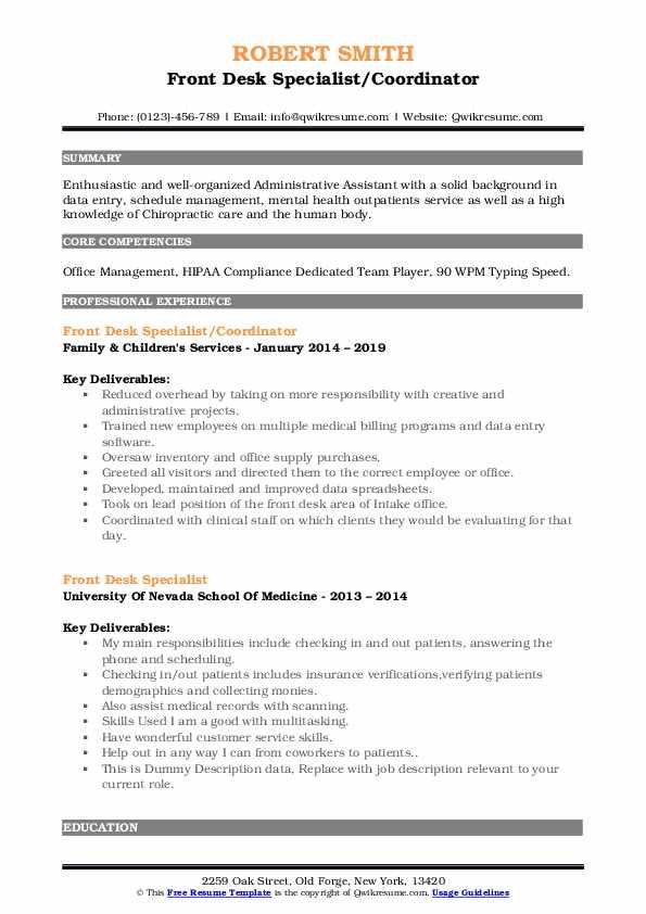 Front Desk Specialist/Coordinator Resume Template