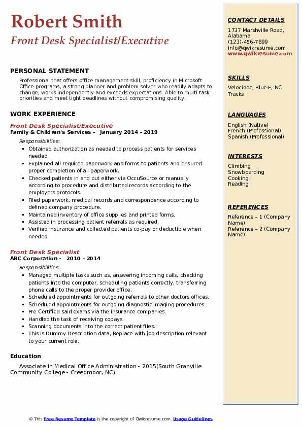 Front Desk Specialist/Executive Resume Sample