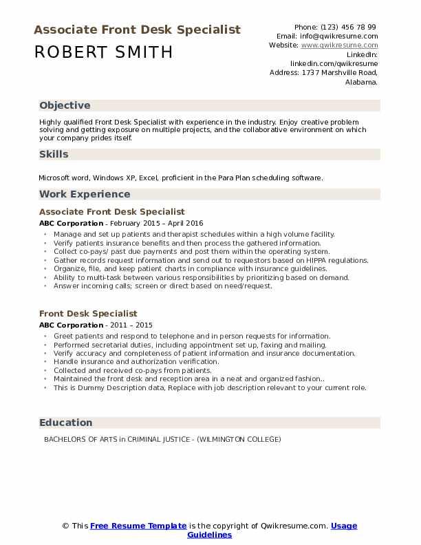 Associate Front Desk Specialist Resume Model