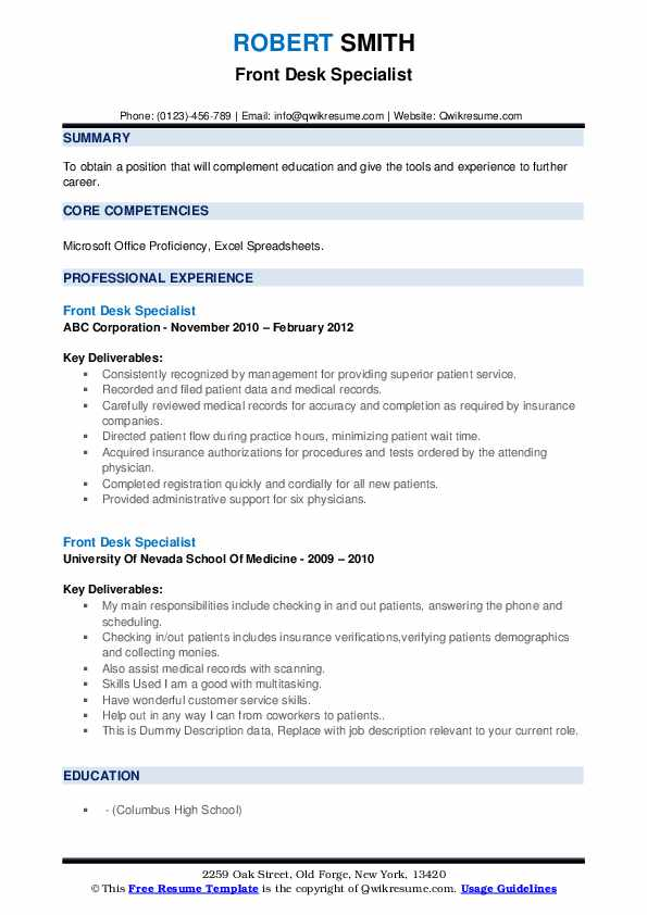 Front Desk Specialist Resume example