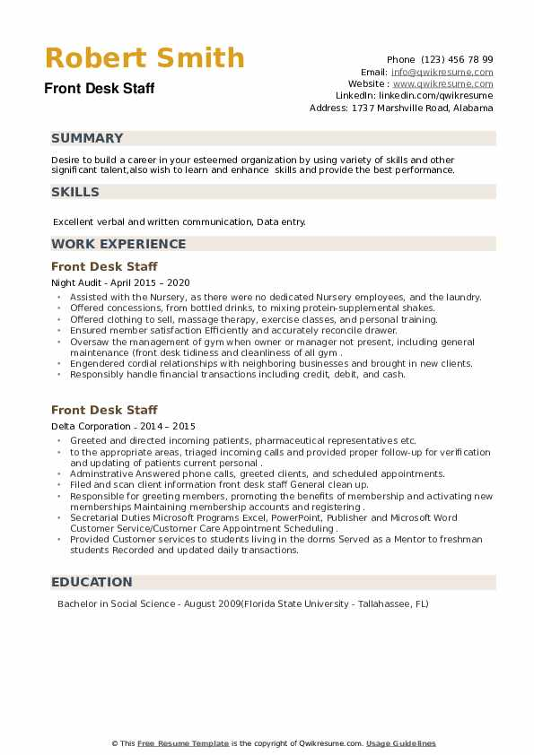 Front Desk Staff Resume example