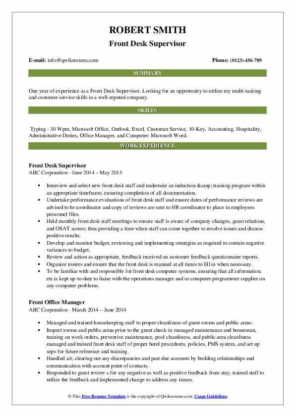 Front Desk Supervisor Resume Model