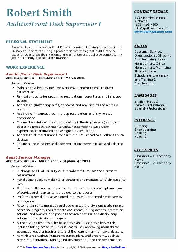 Front Desk Supervisor Resume Samples Qwikresume