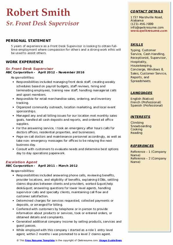front desk supervisor resume samples