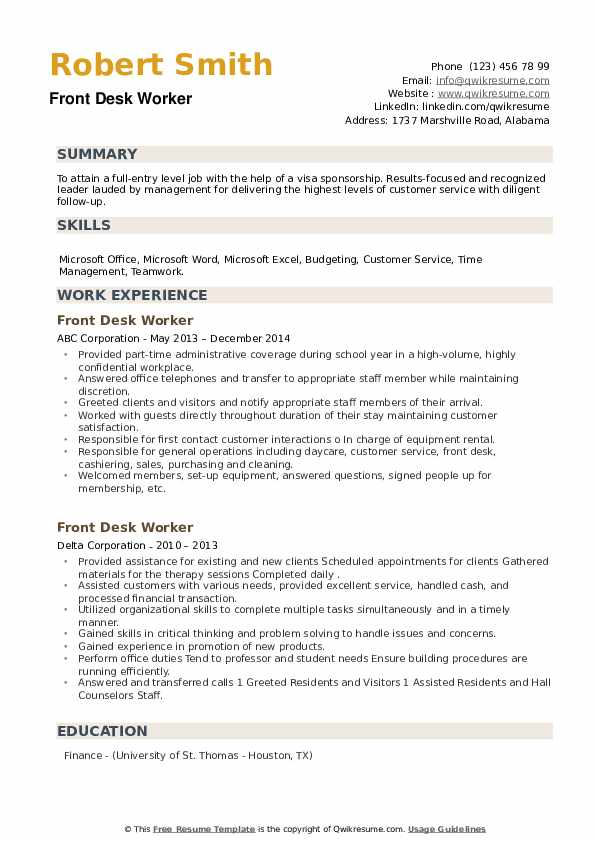 Front Desk Worker Resume example