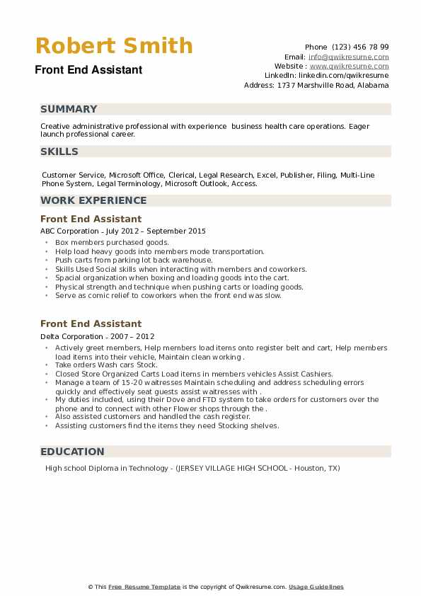 Front End Assistant Resume example