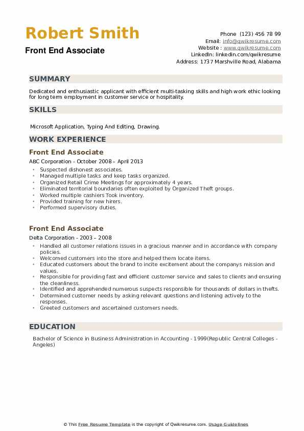 Front End Associate Resume example