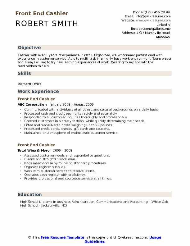 Front End Cashier Resume Template