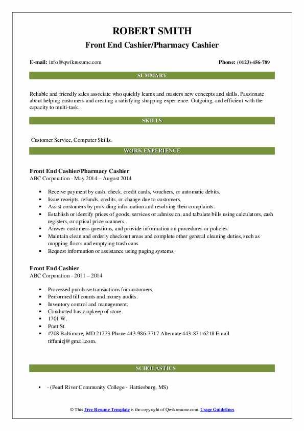 Front End Cashier/Pharmacy Cashier Resume Model