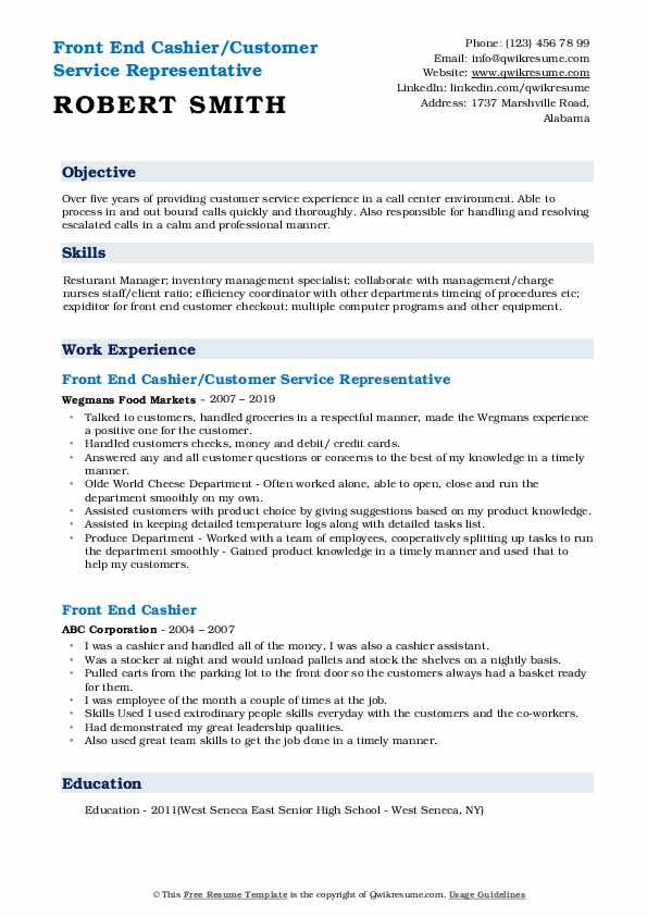 Front End Cashier/Customer Service Representative Resume Template