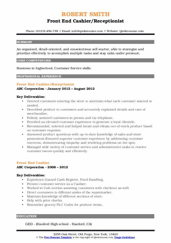 Front End Cashier/Receptionist Resume Template