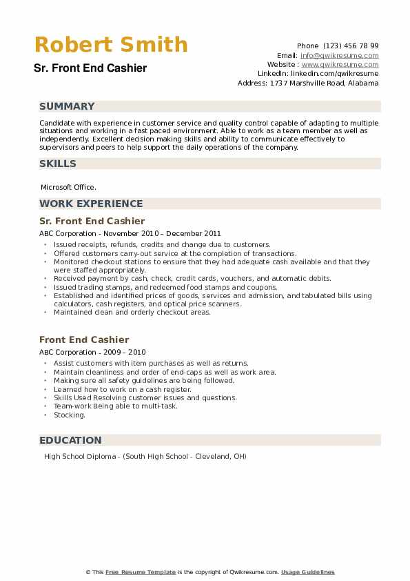 Sr. Front End Cashier Resume Example
