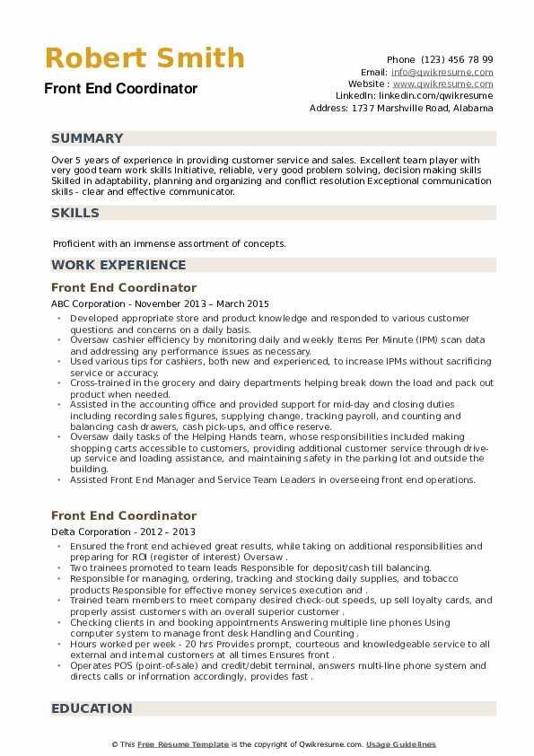Front End Coordinator Resume example