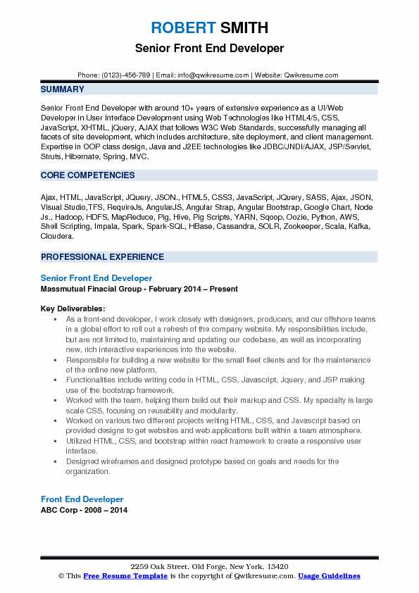 front end developer resume samples