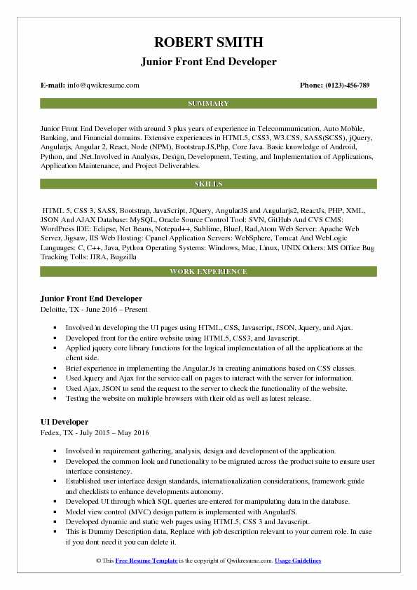 Front End Developer Resume Samples Qwikresume