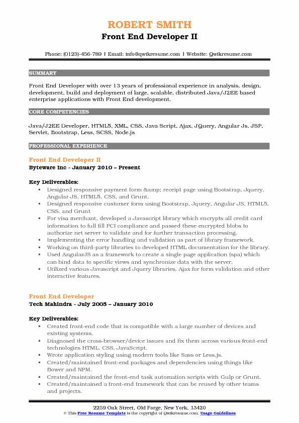 Front End Developer II Resume Example