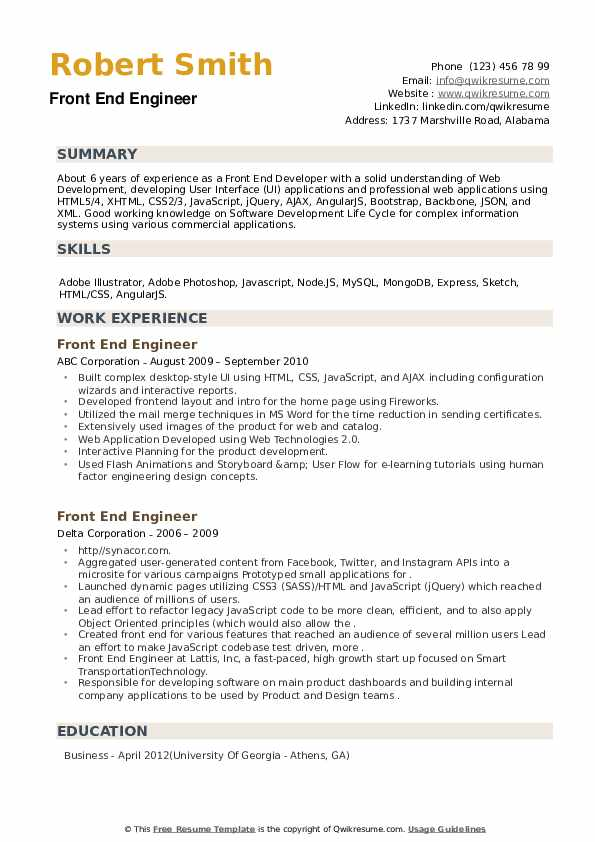 Front End Engineer Resume example