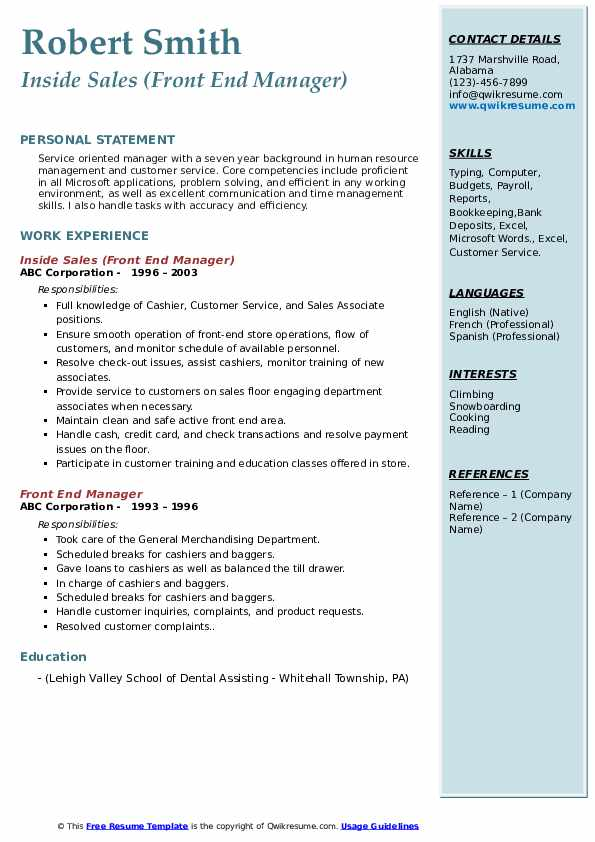 Inside Sales (Front End Manager) Resume Example