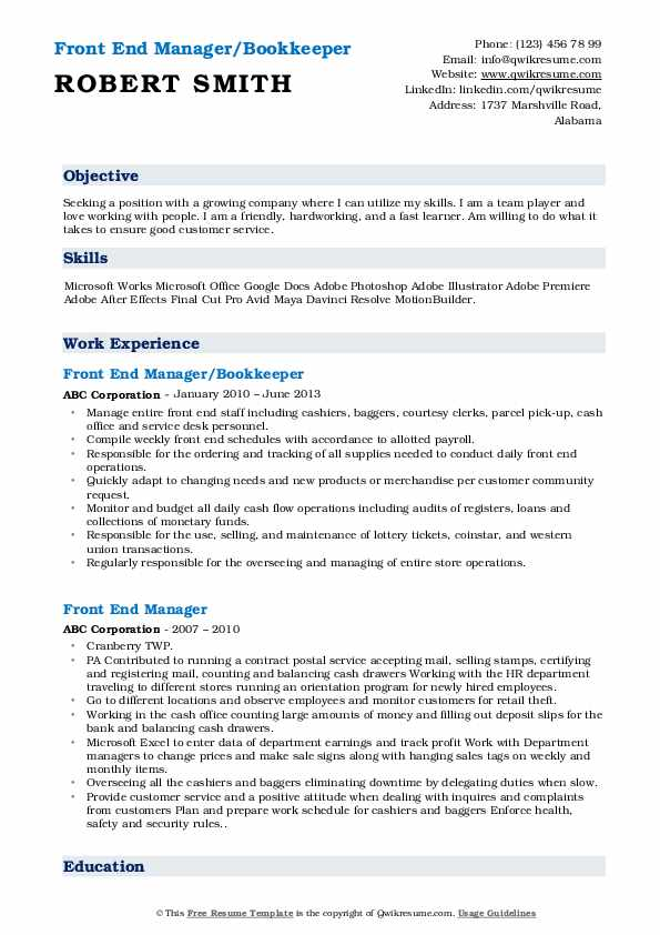 Front End Manager/Bookkeeper Resume Model