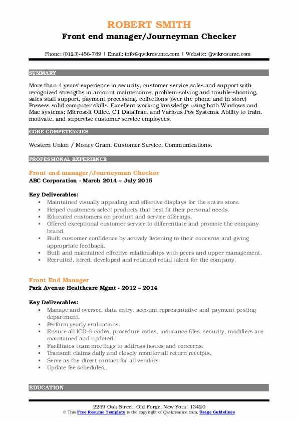 Front end manager/Journeyman Checker Resume Format