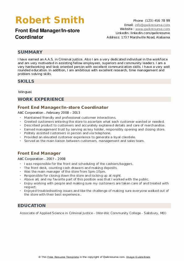 Front End Manager Resume Samples | QwikResume