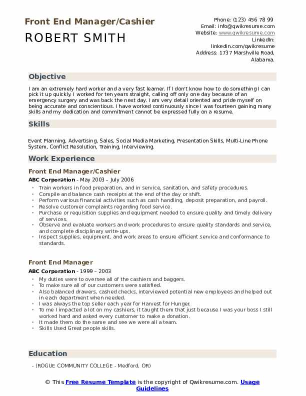 Front End Manager/Cashier  Resume Template