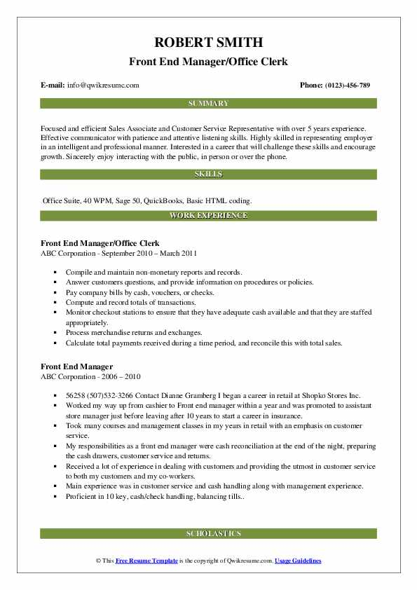 Front End Manager/Office Clerk Resume Sample