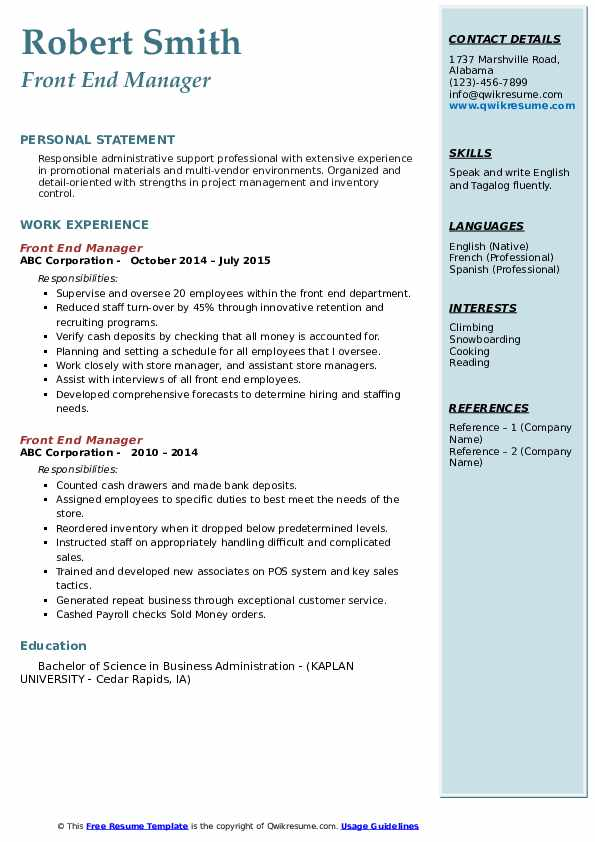 Front End Manager Resume example