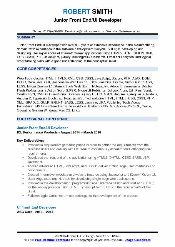 Front End UI Developer Resume Samples | QwikResume