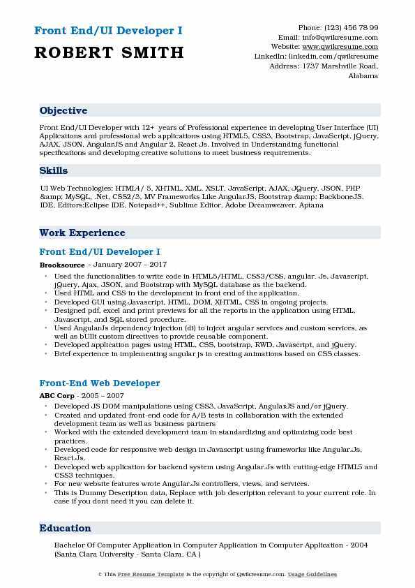 front end ui developer resume samples