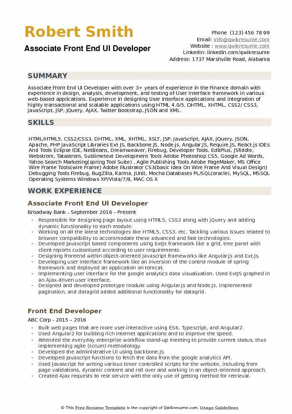 Associate Front End UI Developer Resume Example