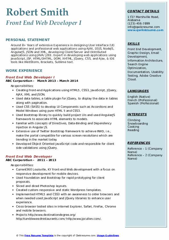 Front End Web Developer I Resume Model