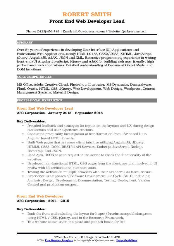 Front End Web Developer Lead Resume Sample