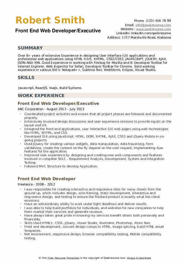 Front End Web Developer/Executive Resume Example