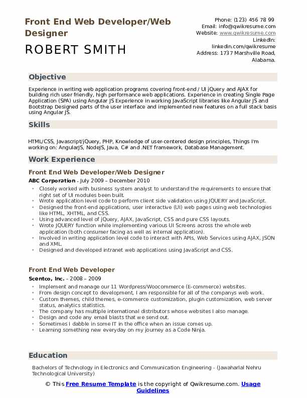Front End Web Developer/Web Designer Resume Sample