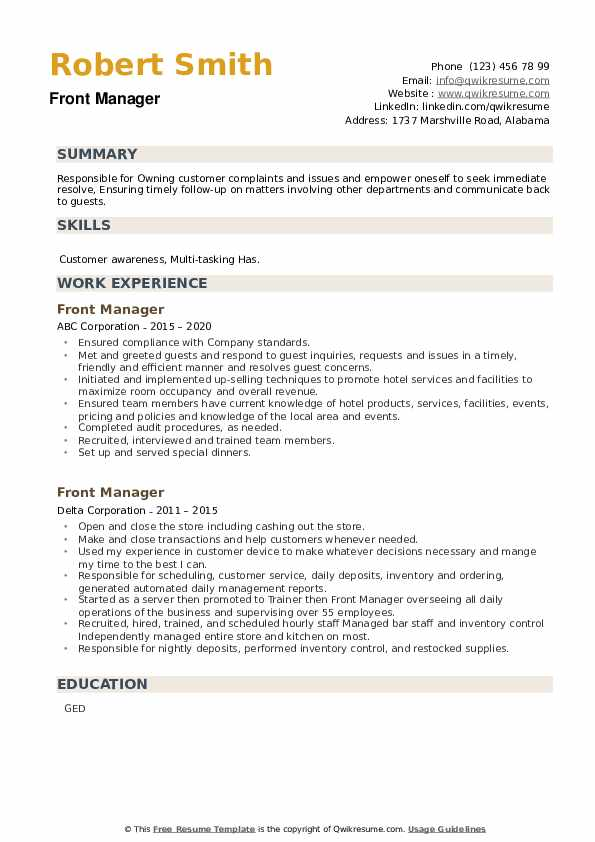 Front Manager Resume example