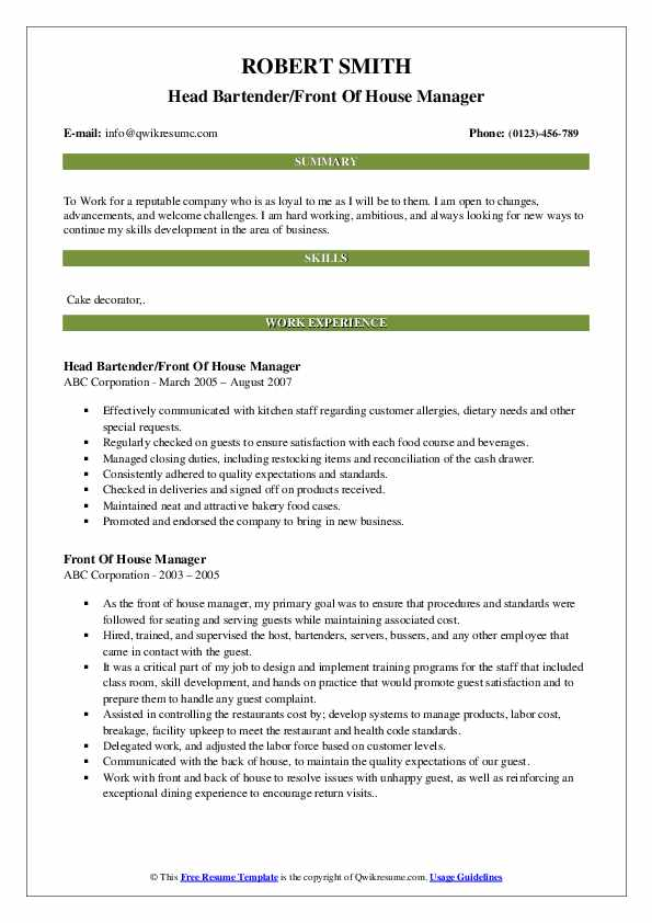Head Bartender/Front Of House Manager Resume Template